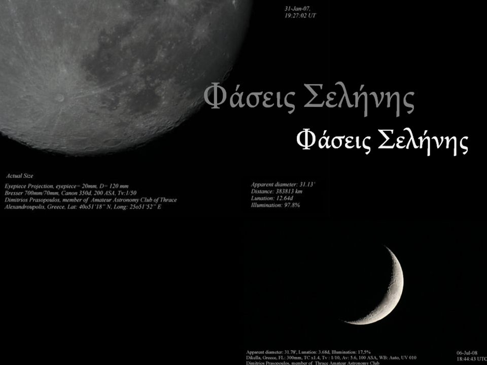 Από οποιοδήποτε σημείο της Γης, η Σελήνη εμφανίζεται να είναι ένας κυκλικός δίσκος οποίος, σε καθορισμένο χρόνο, φωτίζεται έως κάποιο βαθμό κατευθείαν από το ηλιακό φως.