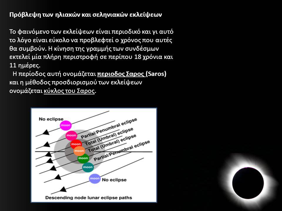 Πρόβλεψη των ηλιακών και σεληνιακών εκλείψεων Το φαινόμενο των εκλείψεων είναι περιοδικό και γι αυτό το λόγο είναι εύκολο να προβλεφτεί ο χρόνος που α