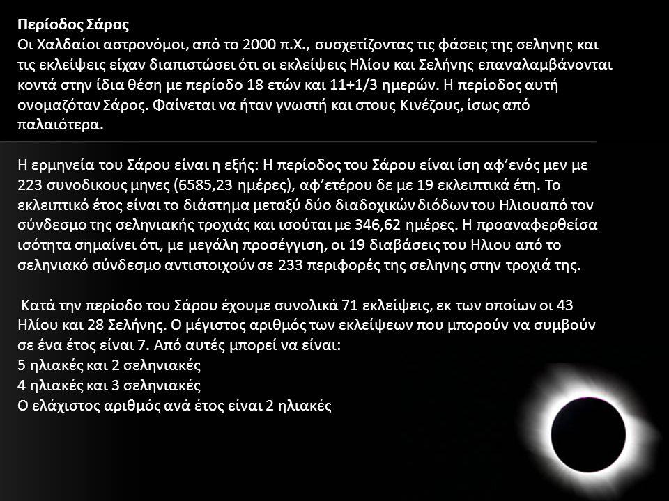 Περίοδος Σάρος Οι Χαλδαίοι αστρονόμοι, από το 2000 π.Χ., συσχετίζοντας τις φάσεις της σεληνης και τις εκλείψεις είχαν διαπιστώσει ότι οι εκλείψεις Ηλί