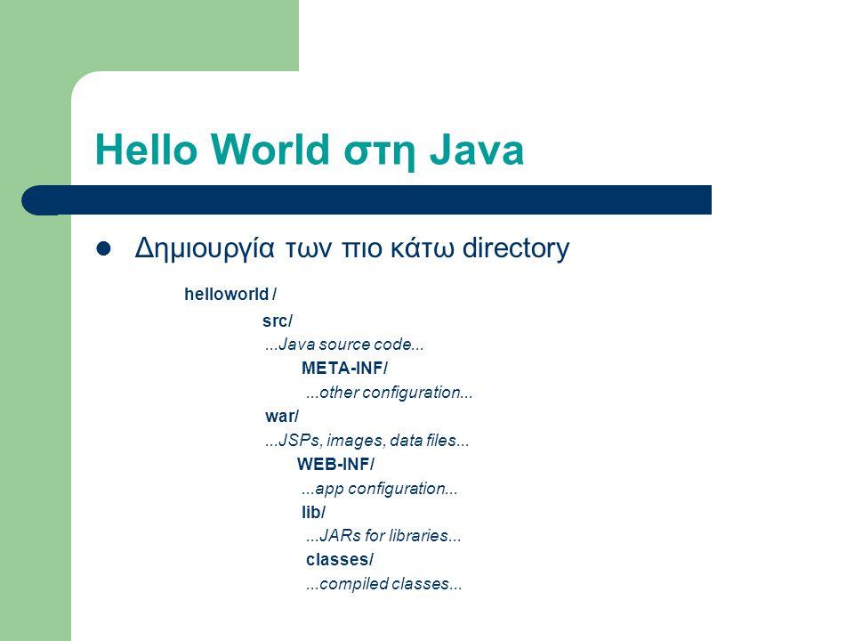 Hello World στη Java Δημιουργία των πιο κάτω directory helloworld / src/...Java source code...