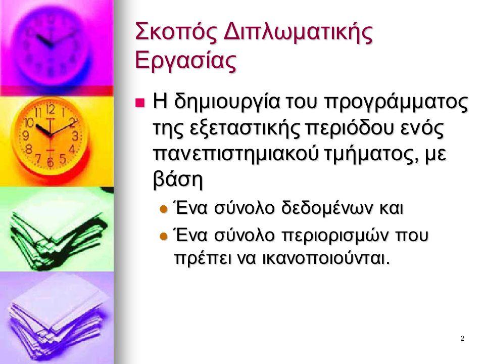 2 Σκοπός Διπλωματικής Εργασίας Η δημιουργία του προγράμματος της εξεταστικής περιόδου ενός πανεπιστημιακού τμήματος, με βάση Η δημιουργία του προγράμμ