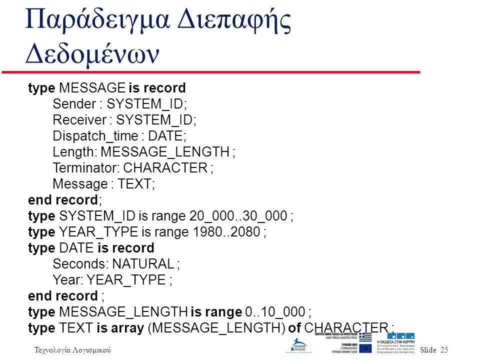 Τεχνολογία ΛογισμικούSlide 25 Παράδειγμα Διεπαφής Δεδομένων type MESSAGE is record Sender : SYSTEM_ID; Receiver : SYSTEM_ID; Dispatch_time : DATE; Len