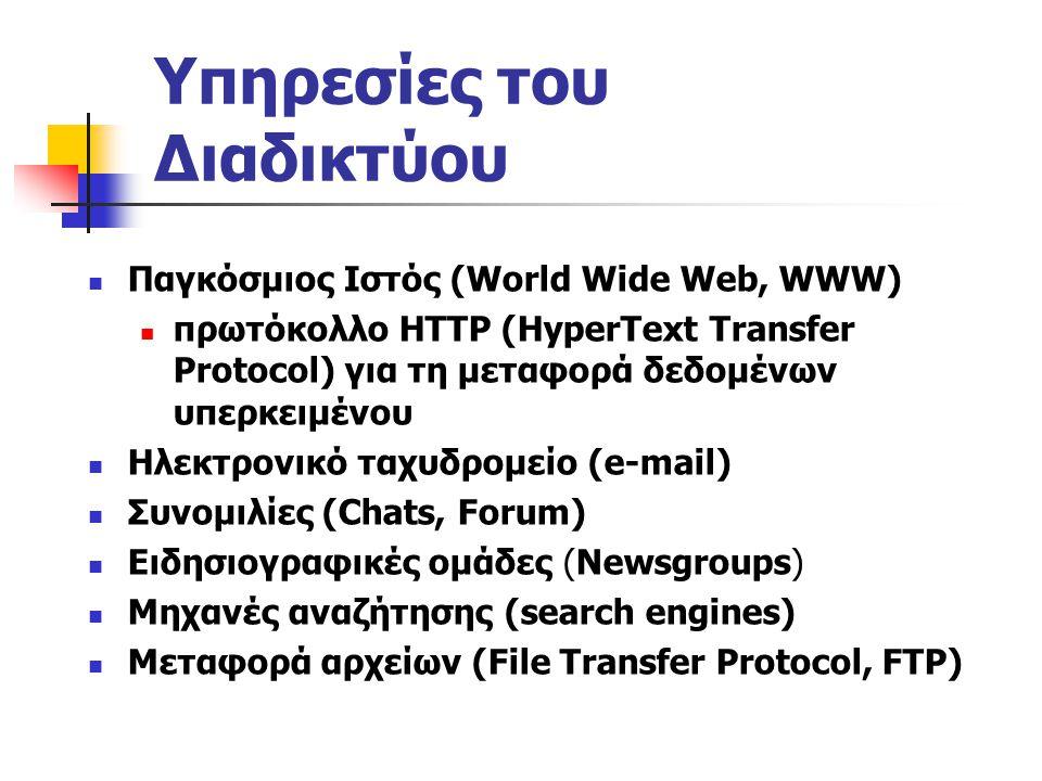 Υπηρεσίες του Διαδικτύου Παγκόσμιος Ιστός (World Wide Web, WWW) πρωτόκολλο HTTP (HyperText Transfer Protocol) για τη μεταφορά δεδομένων υπερκειμένου Ηλεκτρονικό ταχυδρομείο (e-mail) Συνομιλίες (Chats, Forum) Ειδησιογραφικές ομάδες (Newsgroups) Μηχανές αναζήτησης (search engines) Μεταφορά αρχείων (File Transfer Protocol, FTP)