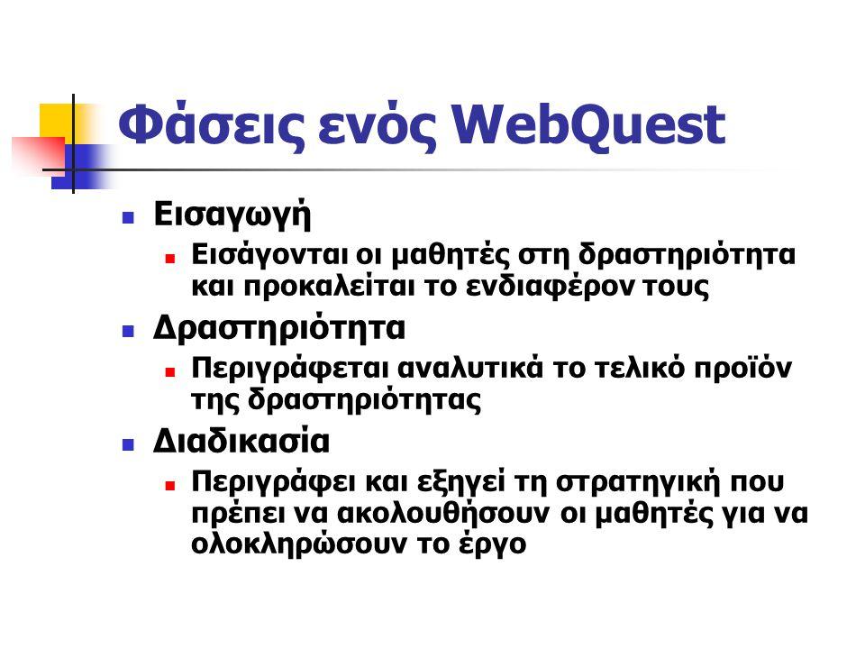 Στόχοι ενός WebQuest Αξιοποίηση και εφαρμογή πληροφοριών για την επίλυση ενός προβλήματος και όχι την απλή αναζήτηση πληροφοριών Ενεργοποίηση των μαθη