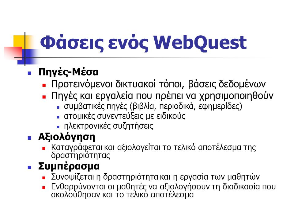 Φάσεις ενός WebQuest Εισαγωγή Εισάγονται οι μαθητές στη δραστηριότητα και προκαλείται το ενδιαφέρον τους Δραστηριότητα Περιγράφεται αναλυτικά το τελικ