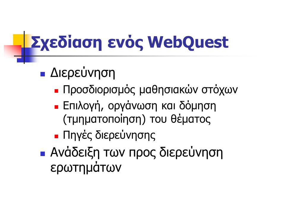 Φάσεις ενός WebQuest Πηγές-Μέσα Προτεινόμενοι δικτυακοί τόποι, βάσεις δεδομένων Πηγές και εργαλεία που πρέπει να χρησιμοποιηθούν συμβατικές πηγές (βιβ