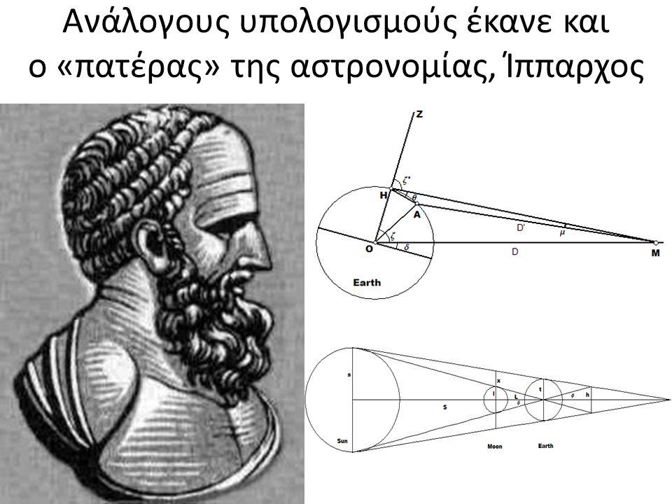 Ανάλογους υπολογισμούς έκανε και ο «πατέρας» της αστρονομίας, Ίππαρχος