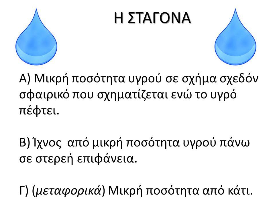 Η ΣΤΑΓΟΝΑ Α) Μικρή ποσότητα υγρού σε σχήμα σχεδόν σφαιρικό που σχηματίζεται ενώ το υγρό πέφτει. Β) Ίχνος από μικρή ποσότητα υγρού πάνω σε στερεή επιφά