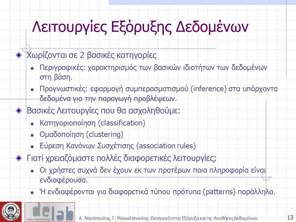 Χωρίζονται σε 2 βασικές κατηγορίες Περιγραφικές: χαρακτηρισμός των βασικών ιδιοτήτων των δεδομένων στη βάση. Προγνωστικές: εφαρμογή συμπερασματισμού (