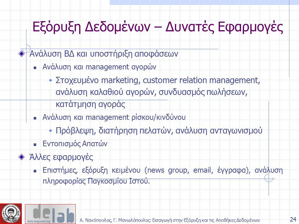 Ανάλυση ΒΔ και υποστήριξη αποφάσεων Ανάλυση και management αγορών  Στοχευμένο marketing, customer relation management, ανάλυση καλαθιού αγορών, συνδυ