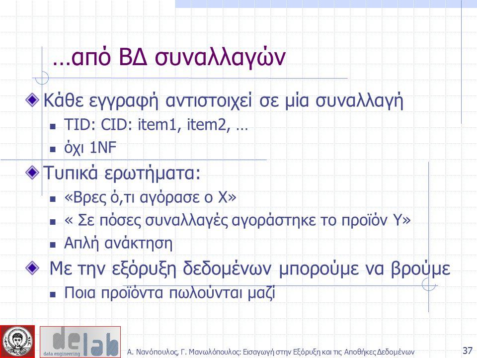 Κάθε εγγραφή αντιστοιχεί σε μία συναλλαγή TID: CID: item1, item2, … όχι 1NF Τυπικά ερωτήματα: «Βρες ό,τι αγόρασε ο Χ» « Σε πόσες συναλλαγές αγοράστηκε