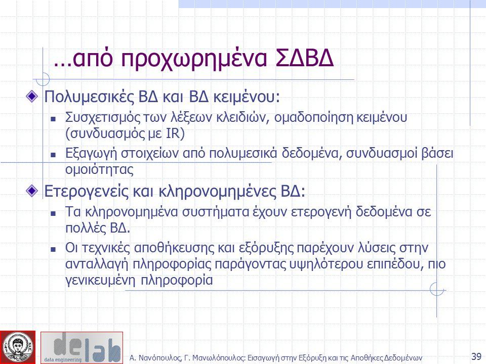 Πολυμεσικές ΒΔ και ΒΔ κειμένου: Συσχετισμός των λέξεων κλειδιών, ομαδοποίηση κειμένου (συνδυασμός με IR) Εξαγωγή στοιχείων από πολυμεσικά δεδομένα, συ