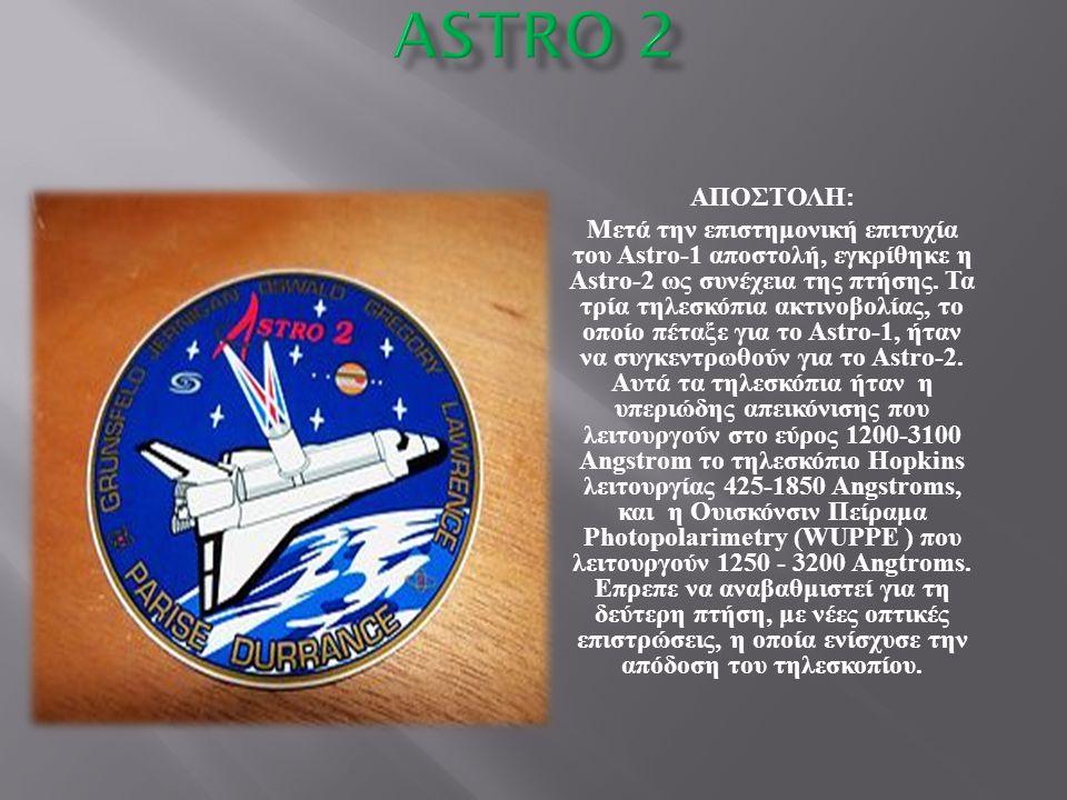 ΑΠΟΣΤΟΛΗ : Μετά την επιστημονική επιτυχία του Astro-1 αποστολή, εγκρίθηκε η Astro-2 ως συνέχεια της πτήσης. Τα τρία τηλεσκόπια ακτινοβολίας, το οποίο