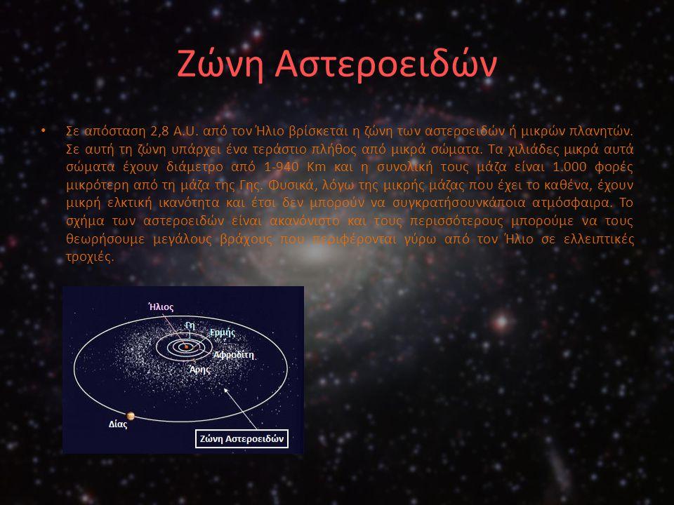 Ζώνη Αστεροειδών Σε απόσταση 2,8 A.U. από τον Ήλιο βρίσκεται η ζώνη των αστεροειδών ή μικρών πλανητών. Σε αυτή τη ζώνη υπάρχει ένα τεράστιο πλήθος από