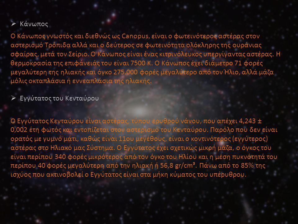  Κάνωπος Ο Κάνωπος γνωστός και διεθνώς ως Canopus, είναι ο φωτεινότερος αστέρας στον αστερισμό Τρόπιδα αλλά και ο δεύτερος σε φωτεινότητα ολόκληρης τ