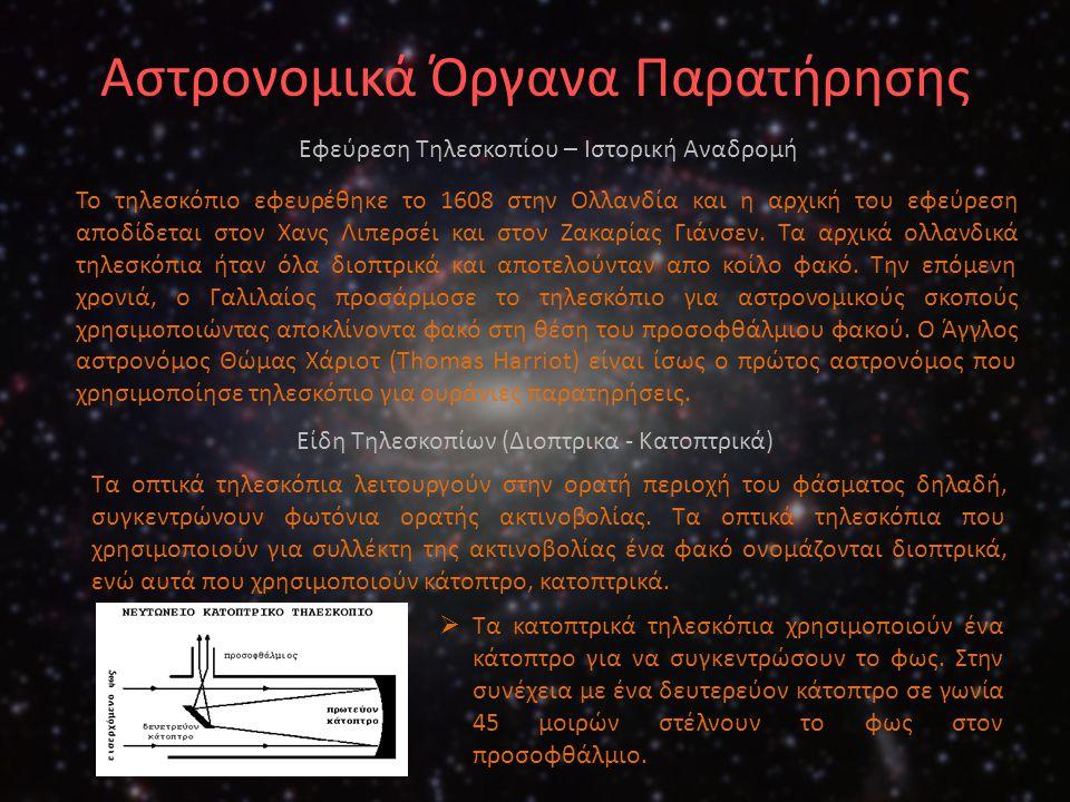 Αστρονομικά Όργανα Παρατήρησης Το τηλεσκόπιο εφευρέθηκε το 1608 στην Ολλανδία και η αρχική του εφεύρεση αποδίδεται στον Χανς Λιπερσέι και στον Ζακαρία