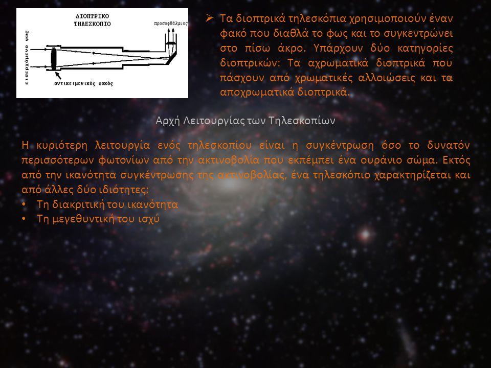  Tα διοπτρικά τηλεσκόπια χρησιμοποιούν έναν φακό που διαθλά το φως και το συγκεντρώνει στο πίσω άκρο. Υπάρχουν δύο κατηγορίες διοπτρικών: Τα αχρωματι