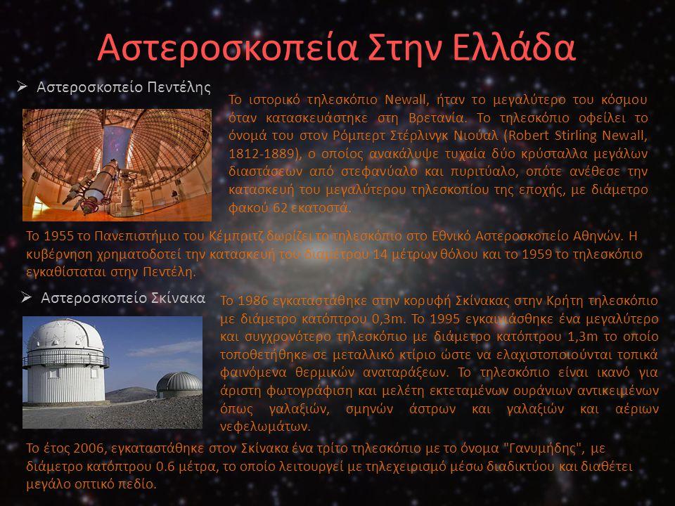 Αστεροσκοπεία Στην Ελλάδα  Αστεροσκοπείο Πεντέλης Το ιστορικό τηλεσκόπιο Newall, ήταν το μεγαλύτερο του κόσμου όταν κατασκευάστηκε στη Βρετανία. Το τ
