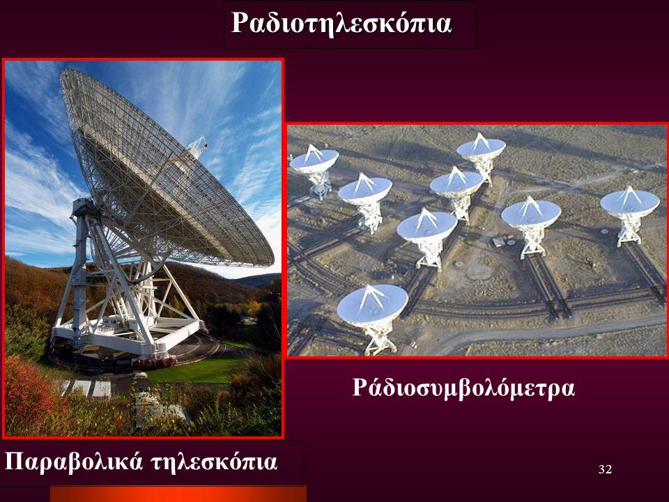 32 Παραβολικά τηλεσκόπια Ράδιοσυμβολόμετρα Ραδιοτηλεσκόπια
