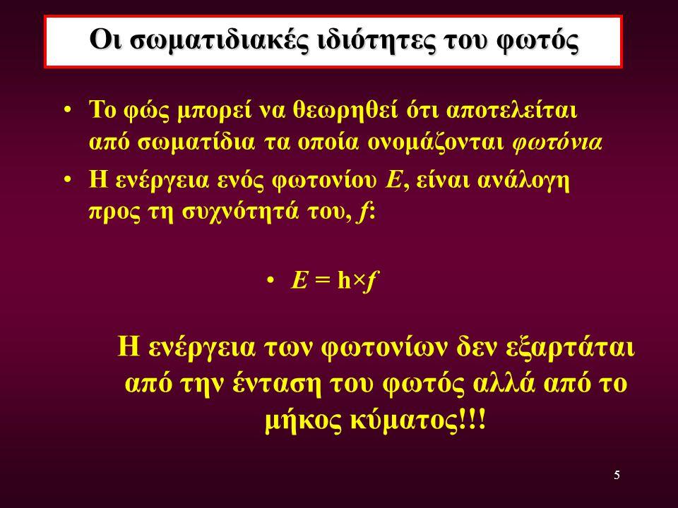 5 Οι σωματιδιακές ιδιότητες του φωτός Το φώς μπορεί να θεωρηθεί ότι αποτελείται από σωματίδια τα οποία ονομάζονται φωτόνια Η ενέργεια ενός φωτονίου E,