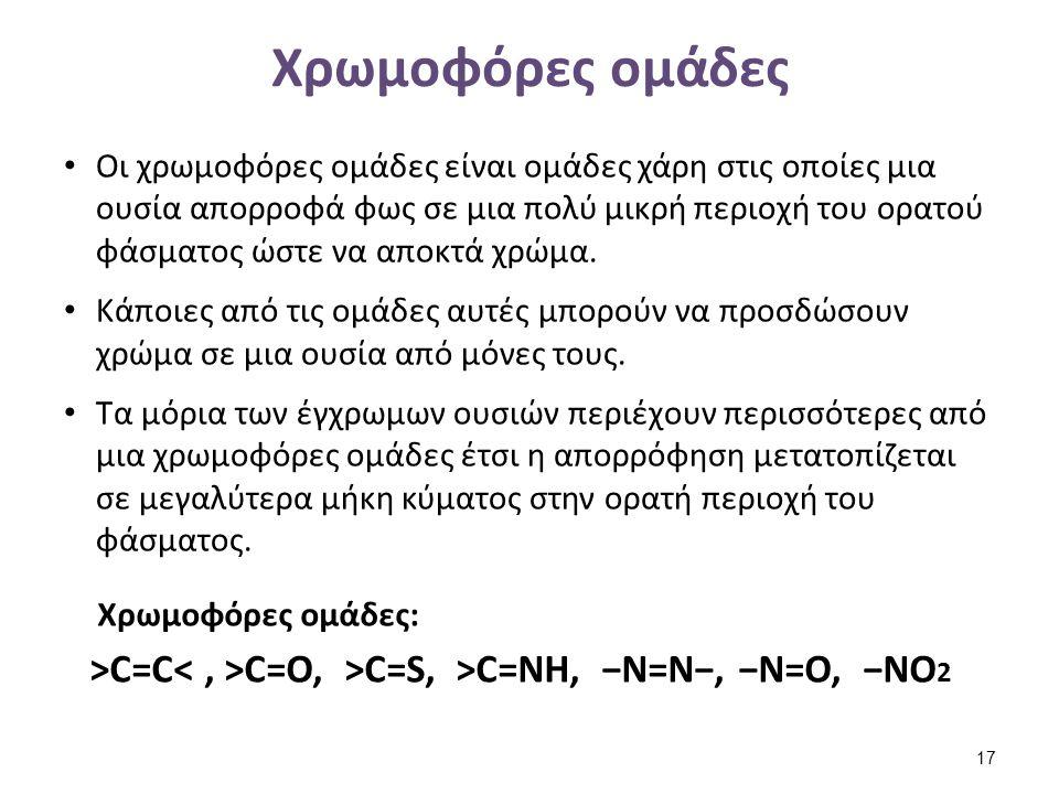 Χρωμοφόρες ομάδες Οι χρωμοφόρες ομάδες είναι ομάδες χάρη στις οποίες μια ουσία απορροφά φως σε μια πολύ μικρή περιοχή του ορατού φάσματος ώστε να αποκ