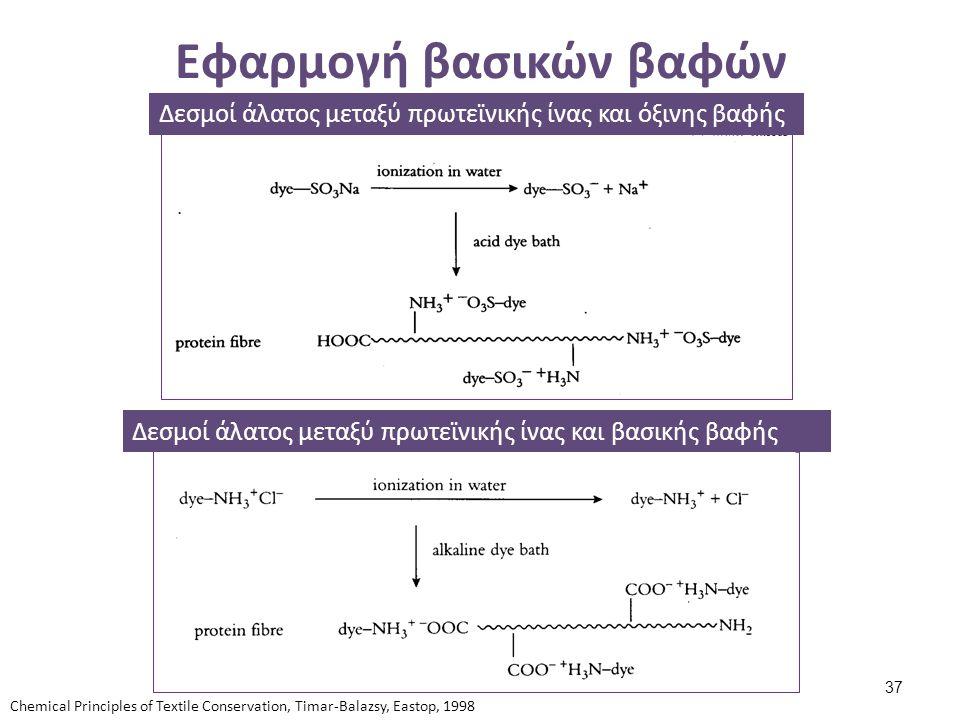 Εφαρμογή βασικών βαφών Δεσμοί άλατος μεταξύ πρωτεϊνικής ίνας και όξινης βαφής Δεσμοί άλατος μεταξύ πρωτεϊνικής ίνας και βασικής βαφής Chemical Princip