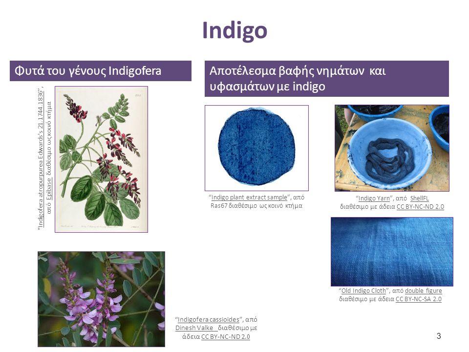 Βαφή με Indigo (2 από 2) Διαδικασία βαφής με indigo σε βαφείο στο Κιότο της Ιαπωνίας Indigo dye , από Barbara Rich διαθέσιμο με άδεια CC BY-NC-ND 2.0Indigo dyeBarbara RichCC BY-NC-ND 2.0 Υφάσματα βαμμένα με indigo στεγνώνουν στον ήλιο Indigo dyeing at Mostly Messes , από litlnemo διαθέσιμο με άδεια CC BY-NC-SA 2.0Indigo dyeing at Mostly Messes litlnemoCC BY-NC-SA 2.0 54