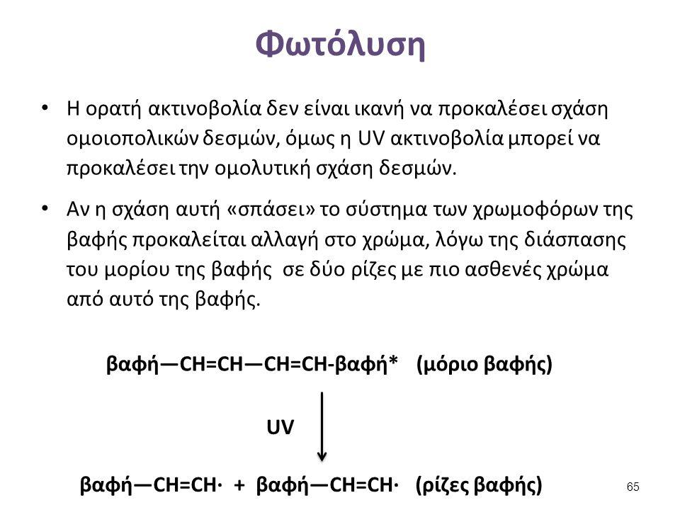 Φωτόλυση Η ορατή ακτινοβολία δεν είναι ικανή να προκαλέσει σχάση ομοιοπολικών δεσμών, όμως η UV ακτινοβολία μπορεί να προκαλέσει την ομολυτική σχάση δ