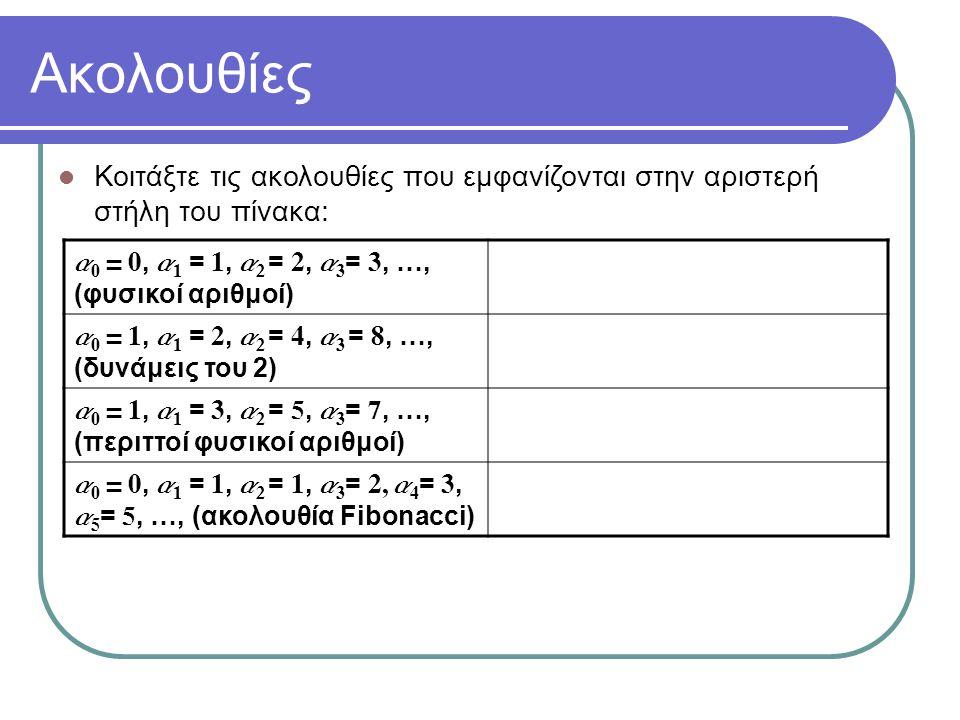 Ακολουθίες Κοιτάξτε τις ακολουθίες που εμφανίζονται στην αριστερή στήλη του πίνακα: a 0 = 0, a 1 = 1, a 2 = 2, a 3 = 3, …, (φυσικοί αριθμοί) a 0 = 1, a 1 = 2, a 2 = 4, a 3 = 8, …, (δυνάμεις του 2) a 0 = 1, a 1 = 3, a 2 = 5, a 3 = 7, …, (περιττοί φυσικοί αριθμοί) a 0 = 0, a 1 = 1, a 2 = 1, a 3 = 2, a 4 = 3, a 5 = 5, …, (ακολουθία Fibonacci) συνάρτηση προηγούμενων όρων μέχρι που φτάνουμε σε δοσμένες τιμές Κοιτάξτε και τη δεξιά στήλη τώρα.