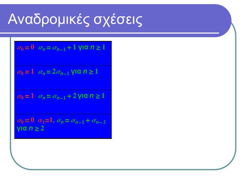 Αναδρομικές σχέσεις a 0 = 0, a n = a n - 1 + 1 για n  1 a 0 = 1, a n = 2a n - 1 για n  1 a 0 = 1, a n = a n - 1 + 2 για n  1 a 0 = 0, a 1 =1, a n =