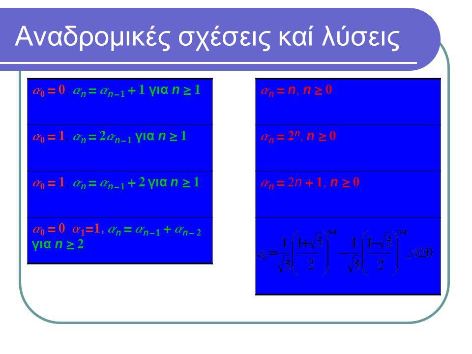 Αναδρομικές σχέσεις καί λύσεις a 0 = 0, a n = a n - 1 + 1 για n  1 a 0 = 1, a n = 2a n - 1 για n  1 a 0 = 1, a n = a n - 1 + 2 για n  1 a 0 = 0, a