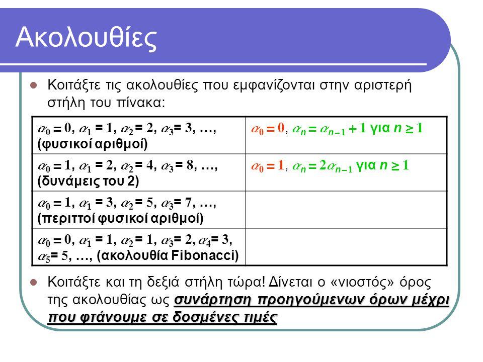 Ακολουθίες Κοιτάξτε τις ακολουθίες που εμφανίζονται στην αριστερή στήλη του πίνακα: a 0 = 0, a 1 = 1, a 2 = 2, a 3 = 3, …, (φυσικοί αριθμοί) a 0 = 0, a n = a n - 1 + 1 για n  1 a 0 = 1, a 1 = 2, a 2 = 4, a 3 = 8, …, (δυνάμεις του 2) a 0 = 1, a n = 2a n - 1 για n  1 a 0 = 1, a 1 = 3, a 2 = 5, a 3 = 7, …, (περιττοί φυσικοί αριθμοί) a 0 = 1, a n = a n - 1 + 2 για n  1 a 0 = 0, a 1 = 1, a 2 = 1, a 3 = 2, a 4 = 3, a 5 = 5, …, (ακολουθία Fibonacci) συνάρτηση προηγούμενων όρων μέχρι που φτάνουμε σε δοσμένες τιμές Κοιτάξτε και τη δεξιά στήλη τώρα.
