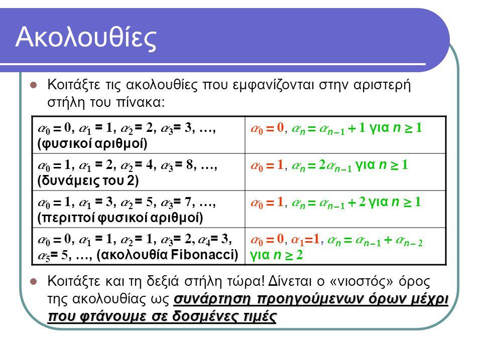 Αναδρομικοί ορισμοί αναδρομικός Ο ορισμός ενός αντικειμένου (ακολουθίας, συνδυαστικής δομής, παιχνιδιού, λύσης σε υπολογιστικό πρόβλημα, έργου τέχνης κλπ.) καλείται αναδρομικός εάν «μικρότερων» αντικειμένων του ίδιου τύπου Το αντικείμενο ορίζεται ως συνάρτηση ενός ή περισσοτέρων «μικρότερων» αντικειμένων του ίδιου τύπου, και