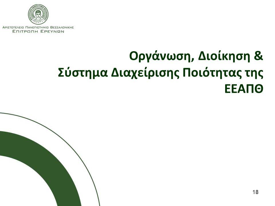 18 Οργάνωση, Διοίκηση & Σύστημα Διαχείρισης Ποιότητας της ΕΕΑΠΘ