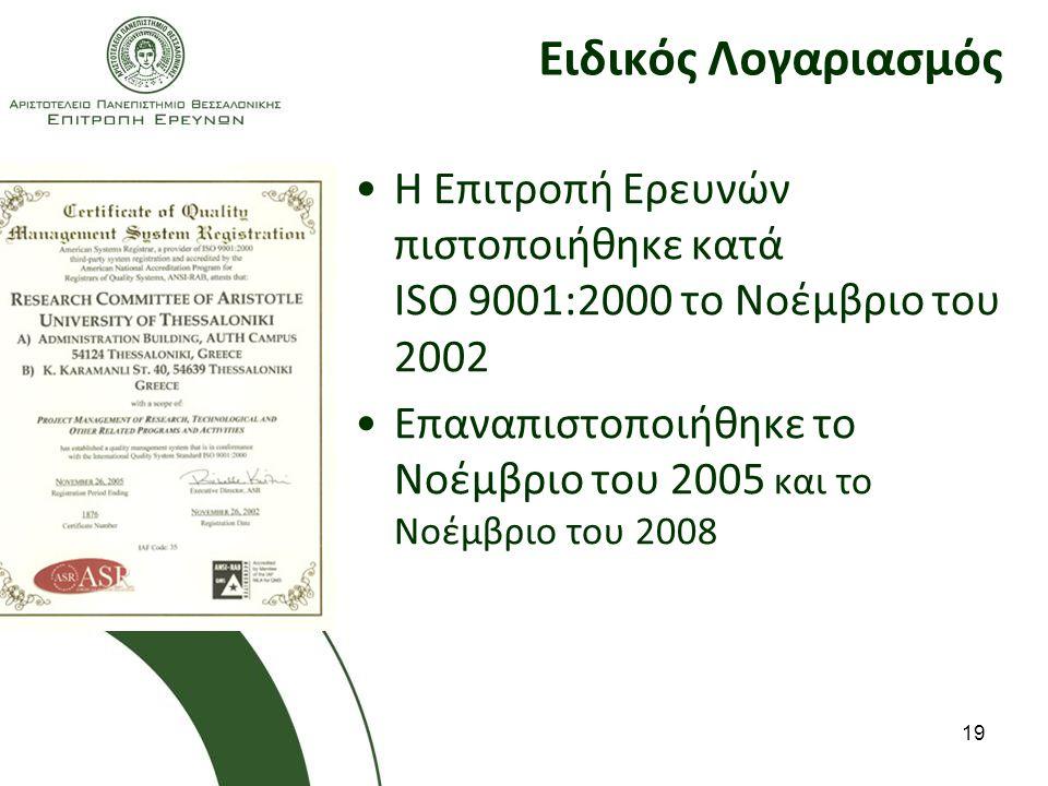 19 Ειδικός Λογαριασμός Η Επιτροπή Ερευνών πιστοποιήθηκε κατά ISO 9001:2000 το Νοέμβριο του 2002 Επαναπιστοποιήθηκε το Νοέμβριο του 2005 και το Νοέμβριο του 2008