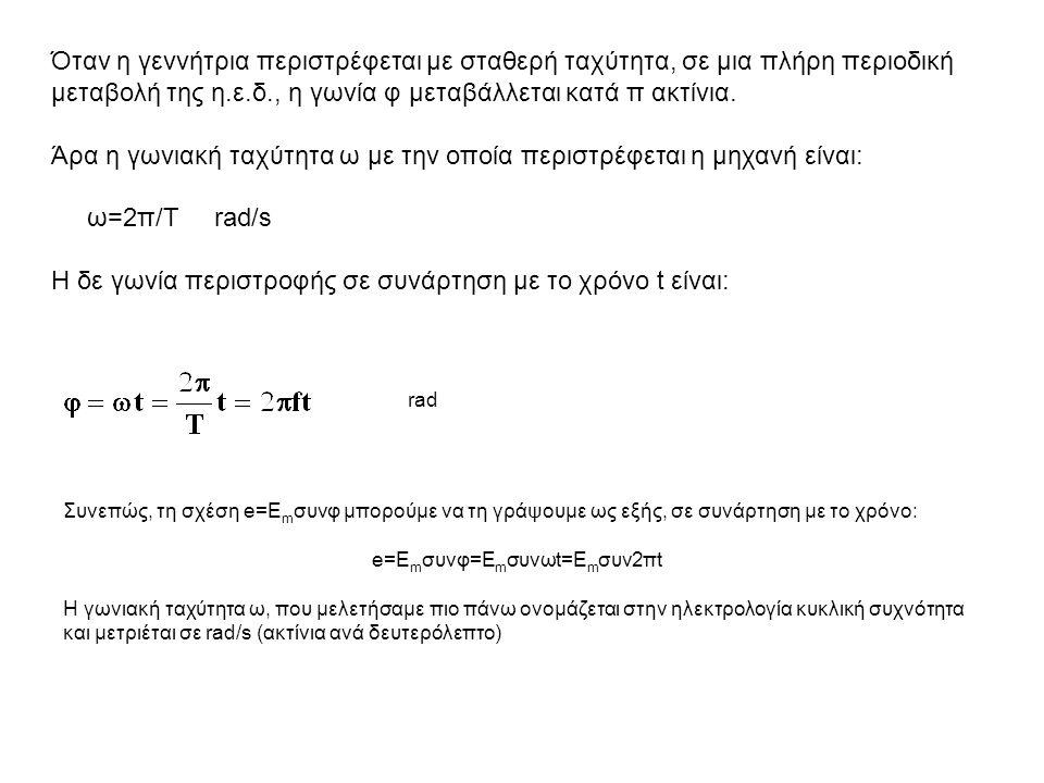 Συνεπώς, τη σχέση e=E m συνφ μπορούμε να τη γράψουμε ως εξής, σε συνάρτηση με το χρόνο: e=E m συνφ=Ε m συνωt=E m συν2πt Η γωνιακή ταχύτητα ω, που μελε
