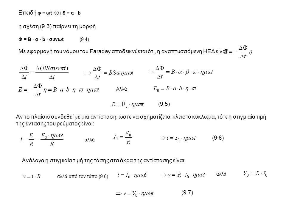 Επειδή φ = ωt και S = α · b η σχέση (9.3) παίρνει τη μορφή Φ = Β · α · b · συνωt (9.4) Με εφαρμογή του νόμου του Faraday αποδεικνύεται ότι, η αναπτυσσ