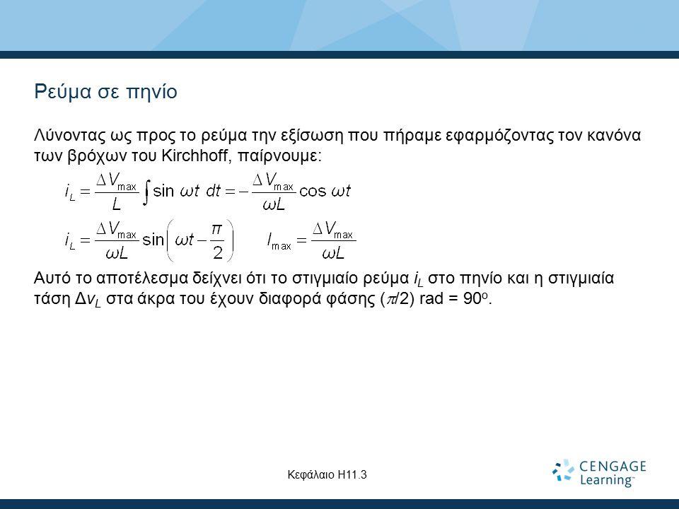Ρεύμα σε πηνίο Λύνοντας ως προς το ρεύμα την εξίσωση που πήραμε εφαρμόζοντας τον κανόνα των βρόχων του Kirchhoff, παίρνουμε: Αυτό το αποτέλεσμα δείχνε