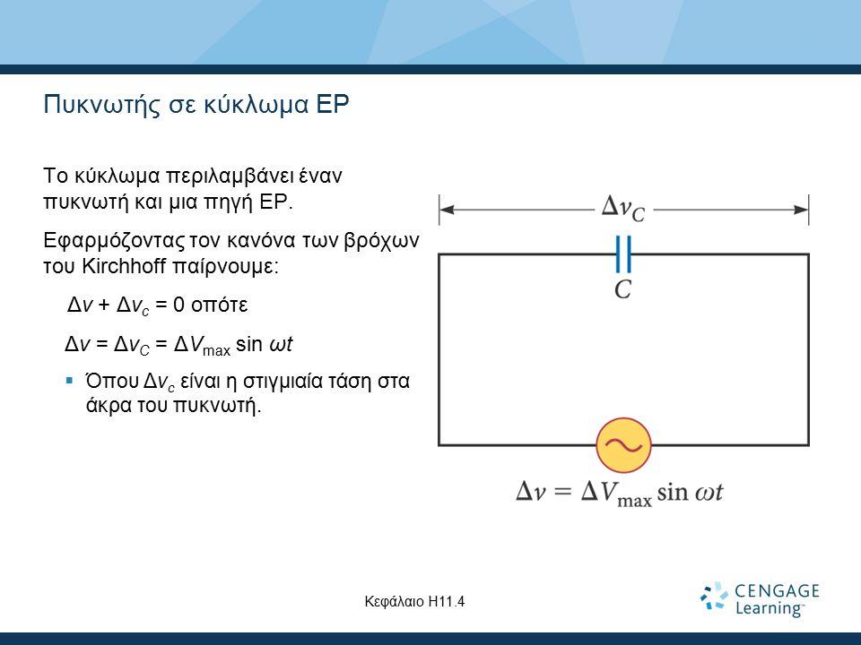 Πυκνωτής σε κύκλωμα ΕΡ Το κύκλωμα περιλαμβάνει έναν πυκνωτή και μια πηγή ΕΡ. Εφαρμόζοντας τον κανόνα των βρόχων του Kirchhoff παίρνουμε: Δv + Δv c = 0