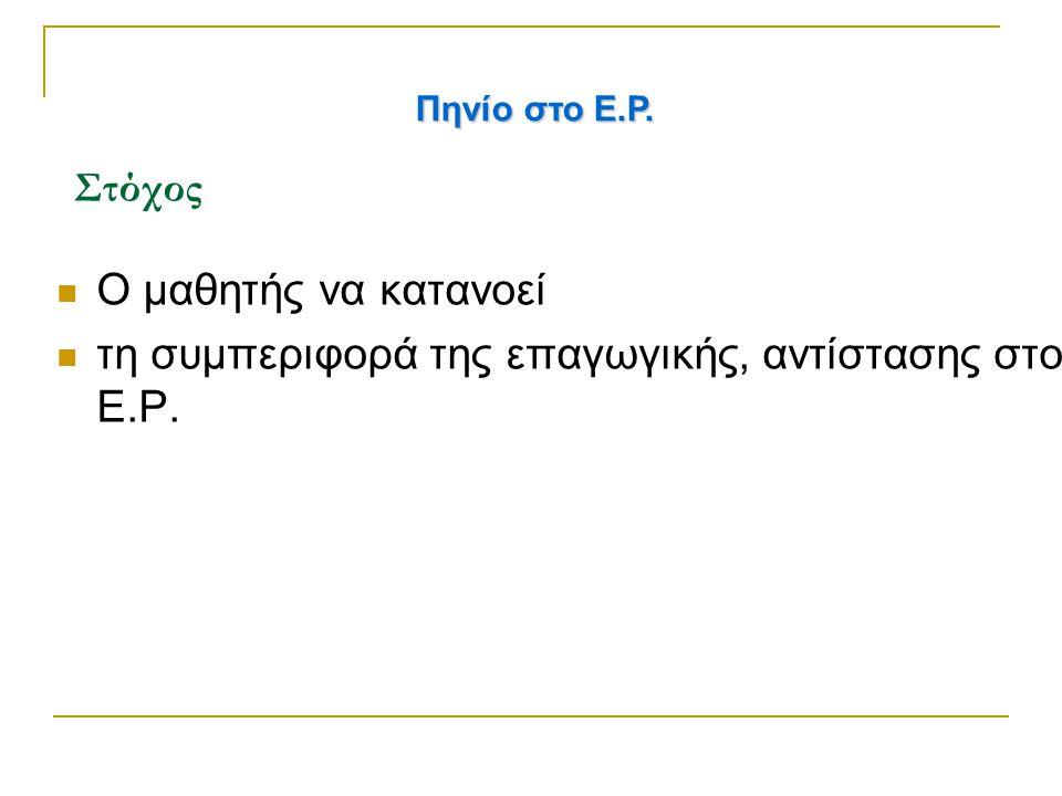 Στόχος Ο μαθητής να κατανοεί τη συμπεριφορά της επαγωγικής, αντίστασης στο Ε.Ρ. Πηνίο στο Ε.Ρ.