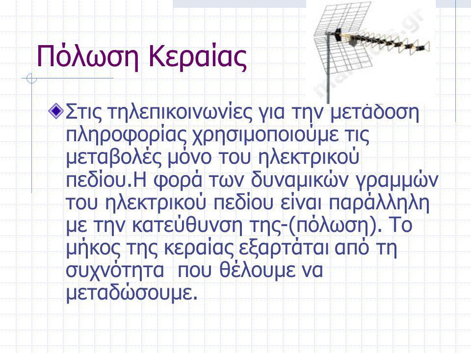 Πόλωση Κεραίας Στις τηλεπικοινωνίες για την μετάδοση πληροφορίας χρησιμοποιούμε τις μεταβολές μόνο του ηλεκτρικού πεδίου.Η φορά των δυναμικών γραμμών του ηλεκτρικού πεδίου είναι παράλληλη με την κατεύθυνση της-(πόλωση).