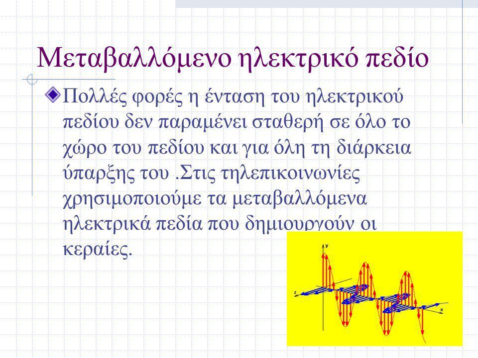 Μεταβαλλόμενο ηλεκτρικό πεδίο Πολλές φορές η ένταση του ηλεκτρικού πεδίου δεν παραμένει σταθερή σε όλο το χώρο του πεδίου και για όλη τη διάρκεια ύπαρξης του.Στις τηλεπικοινωνίες χρησιμοποιούμε τα μεταβαλλόμενα ηλεκτρικά πεδία που δημιουργούν οι κεραίες.
