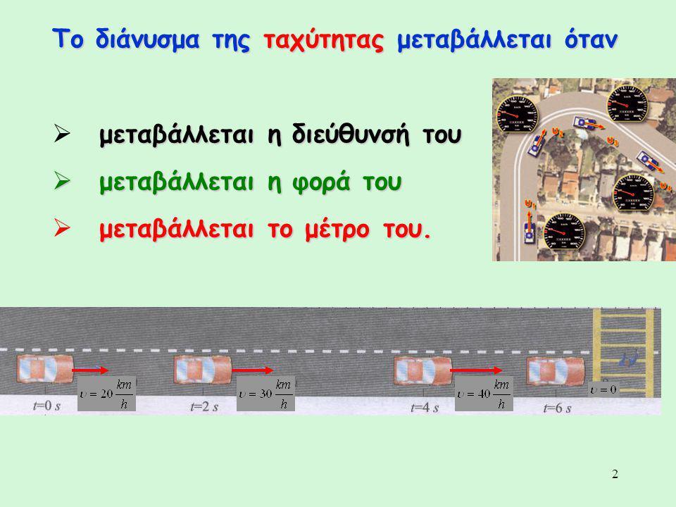 2 Το διάνυσμα της ταχύτητας μεταβάλλεται όταν μεταβάλλεται η διεύθυνσή του  μεταβάλλεται η διεύθυνσή του  μεταβάλλεται η φορά του μεταβάλλεται το μέ