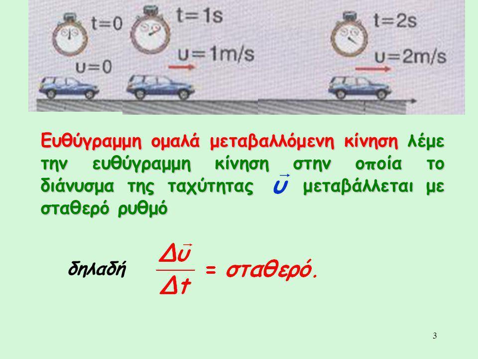 3 Ευθύγραμμη ομαλά μεταβαλλόμενη κίνηση λέμε την ευθύγραμμη κίνηση στην οποία το διάνυσμα της ταχύτητας μεταβάλλεται με σταθερό ρυθμό δηλαδή