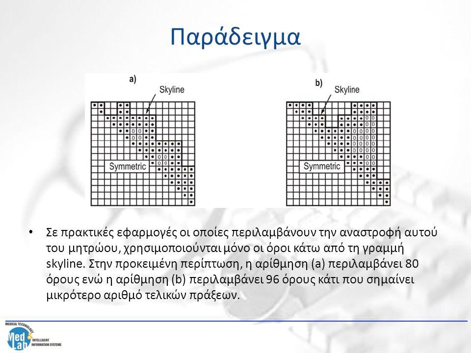 Παράδειγμα Σε πρακτικές εφαρμογές οι οποίες περιλαμβάνουν την αναστροφή αυτού του μητρώου, χρησιμοποιούνται μόνο οι όροι κάτω από τη γραμμή skyline. Σ