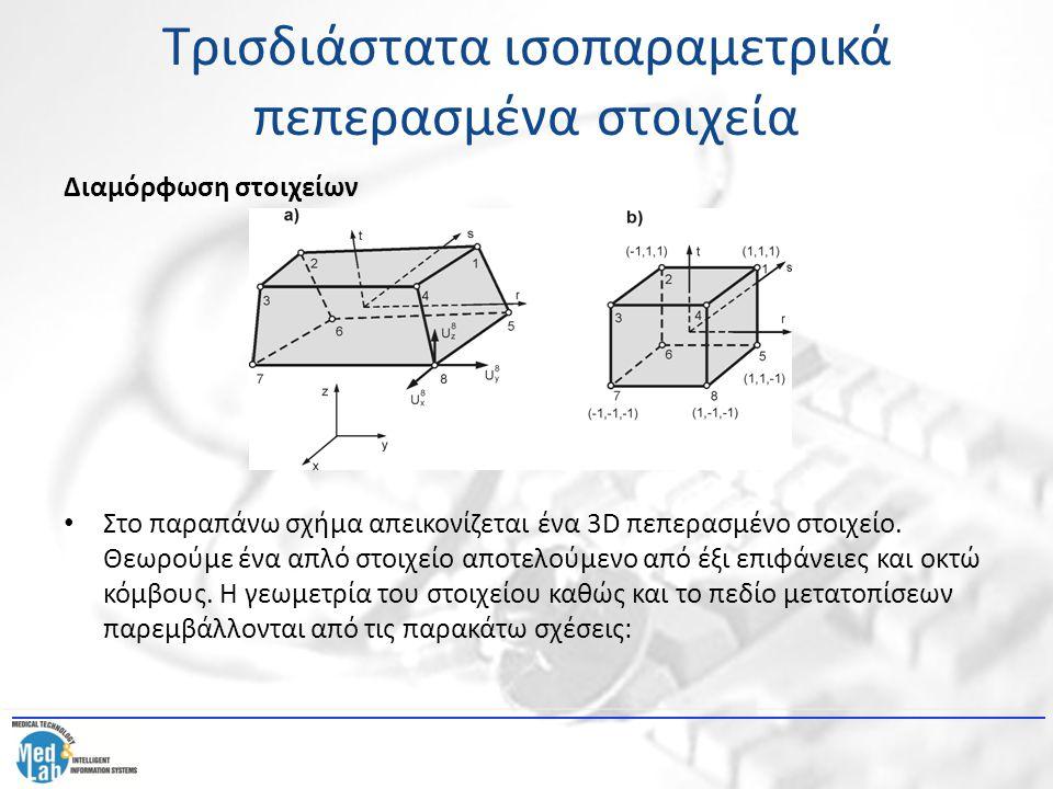 Τρισδιάστατα ισοπαραμετρικά πεπερασμένα στοιχεία Διαμόρφωση στοιχείων Στο παραπάνω σχήμα απεικονίζεται ένα 3D πεπερασμένο στοιχείο. Θεωρούμε ένα απλό