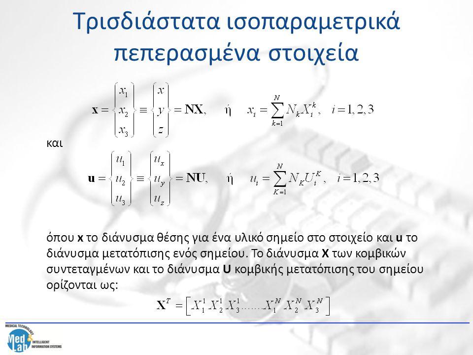Τρισδιάστατα ισοπαραμετρικά πεπερασμένα στοιχεία και όπου x το διάνυσμα θέσης για ένα υλικό σημείο στο στοιχείο και u το διάνυσμα μετατόπισης ενός σημ