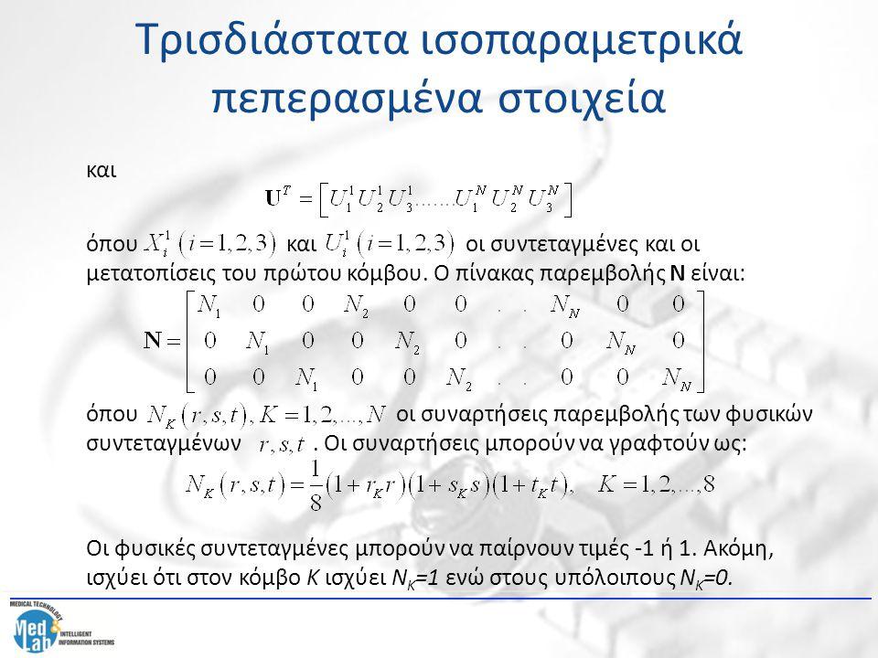 Τρισδιάστατα ισοπαραμετρικά πεπερασμένα στοιχεία και όπου και οι συντεταγμένες και οι μετατοπίσεις του πρώτου κόμβου. Ο πίνακας παρεμβολής Ν είναι: όπ