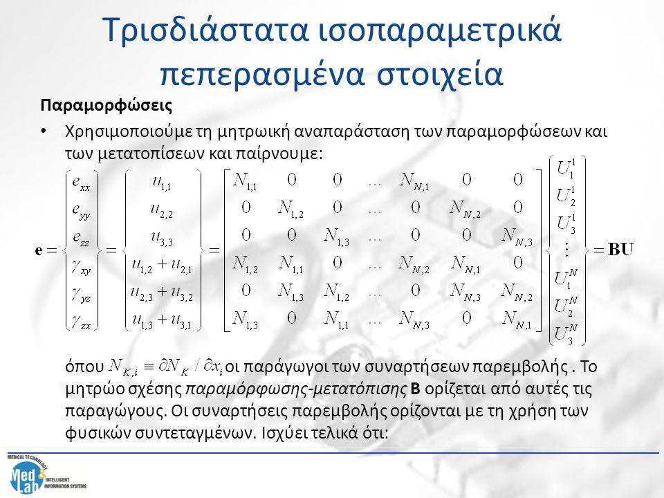 Τρισδιάστατα ισοπαραμετρικά πεπερασμένα στοιχεία Παραμορφώσεις Χρησιμοποιούμε τη μητρωική αναπαράσταση των παραμορφώσεων και των μετατοπίσεων και παίρ