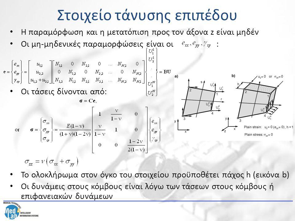 Στοιχείο τάνυσης επιπέδου Η παραμόρφωση και η μετατόπιση προς τον άξονα z είναι μηδέν Οι μη-μηδενικές παραμορφώσεις είναι οι : Οι τάσεις δίνονται από: